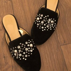 Pearl and Rhinestone Black Suede Mules